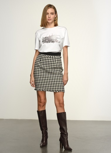 NGSTYLE Kadın Baskılı  Tişört NGKSS21TS0035 Beyaz